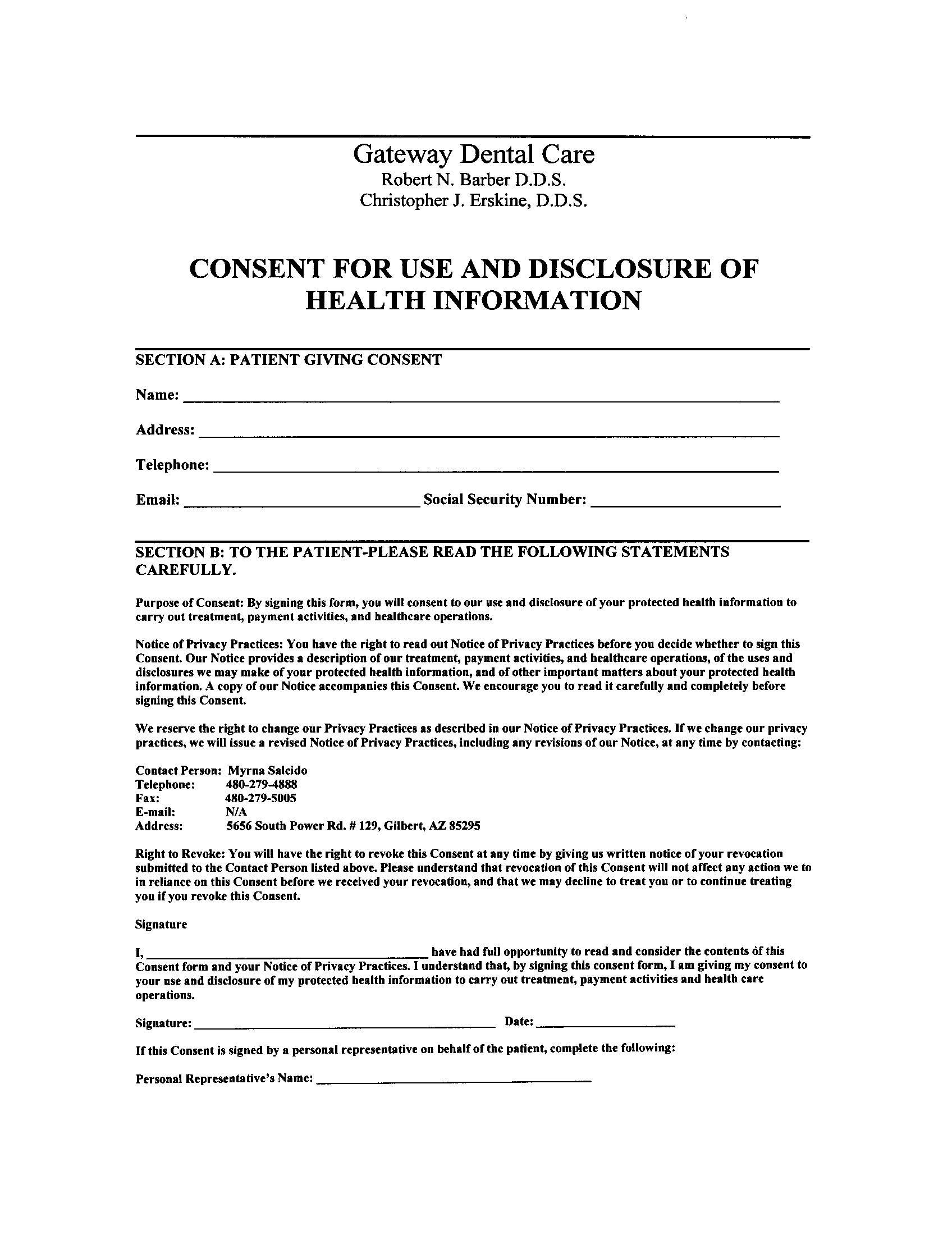 New Patients – Dental Consent Form
